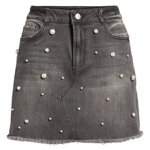 Tinsel Imitation Pearl Embellished Denim Skirt